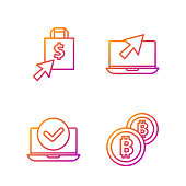 istock Set line Cryptocurrency coin Bitcoin, Laptop, Shoping bag and dollar and Laptop and cursor. Gradient color icons. Vector 1280527244