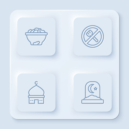 Set line Date fruit in bowl, Ramadan fasting, Muslim Mosque and cemetery. White square button. Vector