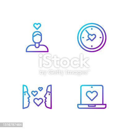 istock Set line Dating app online, Love first sight, Couple love and Clock with heart. Gradient color icons. Vector 1316787464