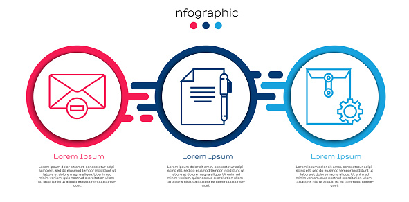Set line Delete envelope, Document and pen and Envelope setting. Business infographic template. Vector