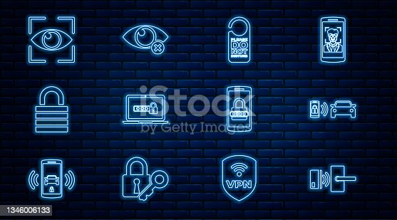 istock Set line Digital door lock with wireless, Smart car alarm system, Please not disturb, Laptop password, Lock, Eye scan, Mobile and and Invisible hide icon. Vector 1346006133