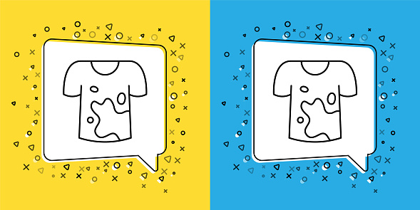 Set line Dirty t-shirt icon isolated on yellow and blue background. Vector
