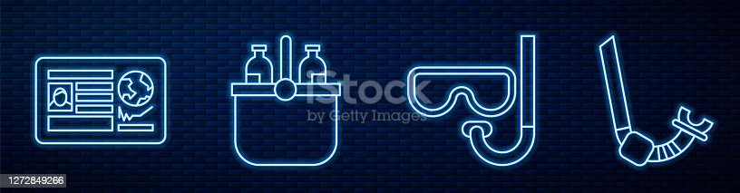 Set line Diving mask and snorkel, Passport with visa stamp, Cooler bag and water, Snorkel and Travel brochure. Glowing neon icon on brick wall. Vector
