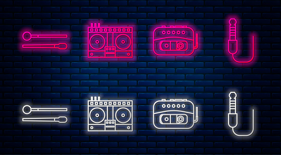 Set line DJ remote for playing and mixing music, Music tape player, Drum sticks and Audio jack. Glowing neon icon on brick wall. Vector