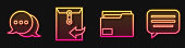 Set line Document folder, Speech bubble chat, Envelope and Speech bubble chat. Glowing neon icon. Vector