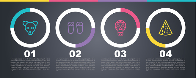Set line Dog, Flip flops, Mexican skull and Nachos. Business infographic template. Vector
