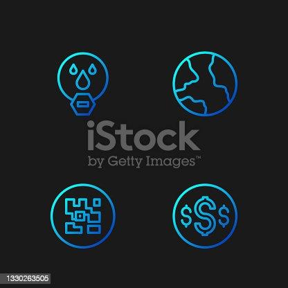 istock Set line Dollar symbol, QR code, Water drop forbidden and Worldwide. Gradient color icons. Vector 1330263505