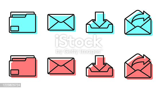 Set line Download inbox, Document folder, Envelope and Outgoing mail icon. Vector