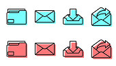 istock Set line Download inbox, Document folder, Envelope and Outgoing mail icon. Vector 1223825724