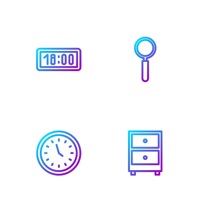 Set line Drawer with documents, Clock, Digital alarm clock and Magnifying glass. Gradient color icons. Vector