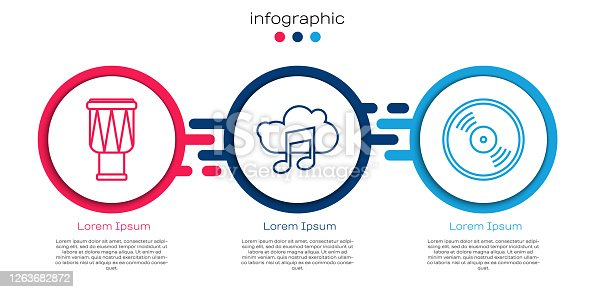 istock Set line Drum, Music streaming service and Vinyl disk. Business infographic template. Vector 1263682872