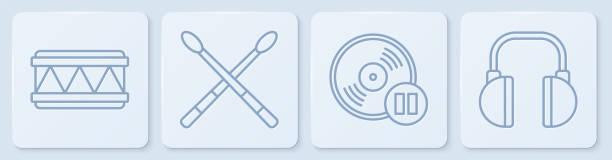 Set line Drum, Vinyl disk, Drum sticks and Headphones. White square button. Vector Set line Drum, Vinyl disk, Drum sticks and Headphones. White square button. Vector switchboard operator vintage stock illustrations
