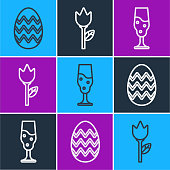 Set line Easter egg, Wine glass and Flower tulip icon. Vector