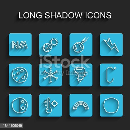 istock Set line Eclipse of the sun, Meteorology thermometer, Not applicable, Rainbow, Moon, Snowflake, Celsius and Tornado icon. Vector 1344109049