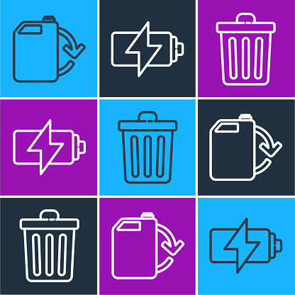 Set line Eco fuel canister, Trash can and Battery icon. Vector