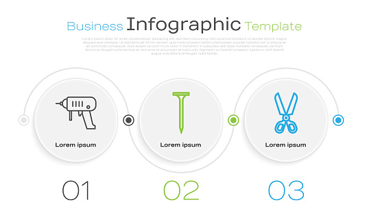 Set line Electric drill machine, Metallic nail and Scissors. Business infographic template. Vector