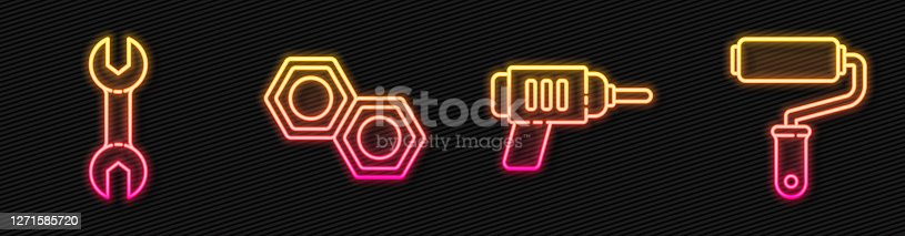 istock Set line Electric drill machine, Wrench spanner, Hexagonal metal nut and Paint roller brush. Glowing neon icon. Vector 1271585720
