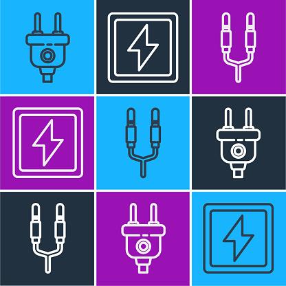 Set line Electric plug, Audio jack and Lightning bolt icon. Vector