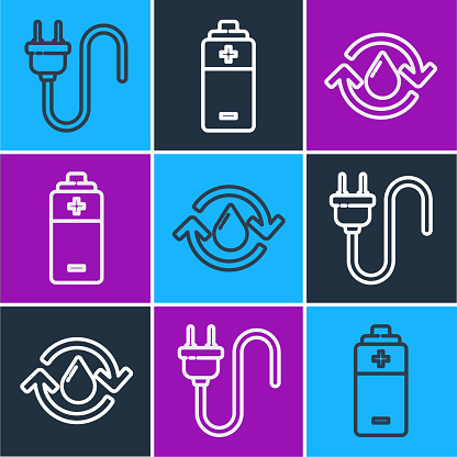 Set line Electric plug, Recycle clean aqua and Battery icon. Vector