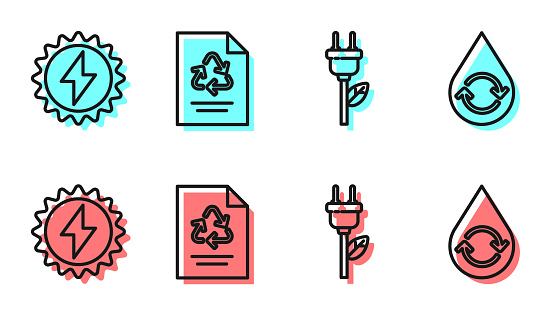 Set line Electric saving plug in leaf, Solar energy panel, Paper with recycle and Recycle clean aqua icon. Vector