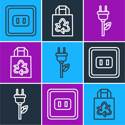 Set line Electrical outlet, Electric saving plug in leaf and Paper bag with recycle icon. Vector