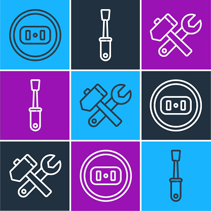 Set line Electrical outlet, Hammer and wrench spanner and Screwdriver icon. Vector
