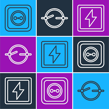 Set line Electrical outlet, Lightning bolt and Electric circuit scheme icon. Vector