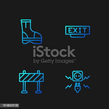 istock Set line Electricity spark, Road barrier, Fire boots and exit. Gradient color icons. Vector 1318023132
