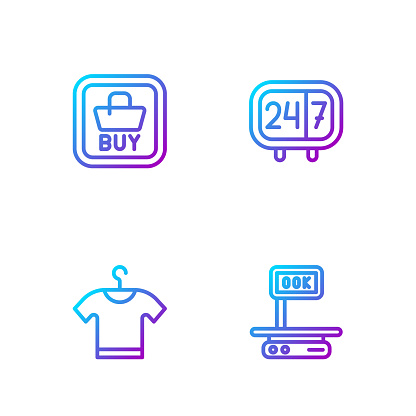 Set line Electronic scales, T-shirt, Buy button and Clock 24 hours. Gradient color icons. Vector