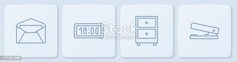 istock Set line Envelope, Drawer with documents, Digital alarm clock and Office stapler. White square button. Vector 1272853565