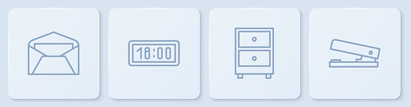 Set line Envelope, Drawer with documents, Digital alarm clock and Office stapler. White square button. Vector