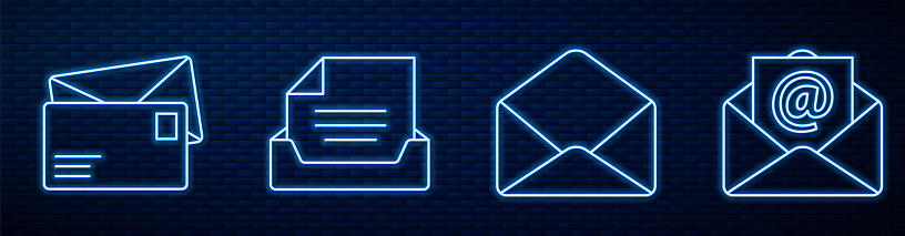 Set line Envelope, Envelope, Drawer with document, Mail and e-mail and Monitor and envelope. Glowing neon icon on brick wall. Vector