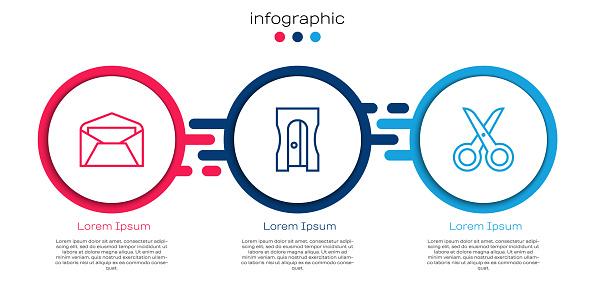 Set line Envelope, Pencil sharpener and Scissors. Business infographic template. Vector