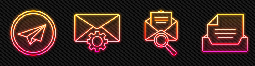 Set line Envelope with magnifying glass, Paper plane, Envelope setting and Drawer with document. Glowing neon icon. Vector