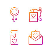 istock Set line Envelope with Valentine heart, Please do not disturb with heart, Female gender symbol and Two blanks photo frames and hearts. Gradient color icons. Vector 1226388464