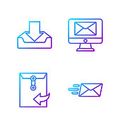 istock Set line Express envelope, Envelope, Download inbox and Monitor and envelope. Gradient color icons. Vector 1270084921