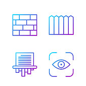 istock Set line Eye scan, Paper shredder, Bricks and Garden fence wooden. Gradient color icons. Vector 1230510236