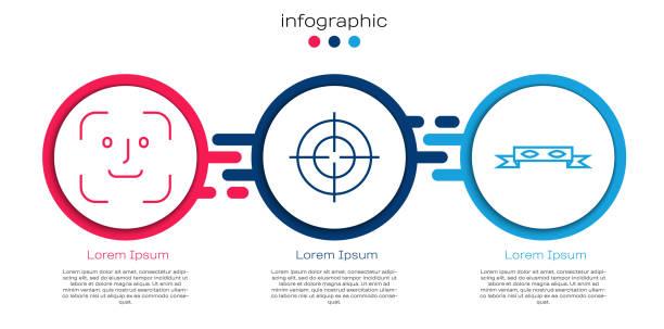 set linie gesichtserkennung, ziel sport und dieb augenmaske. business-infografikvorlage. vektor - menschliches körperteil stock-grafiken, -clipart, -cartoons und -symbole