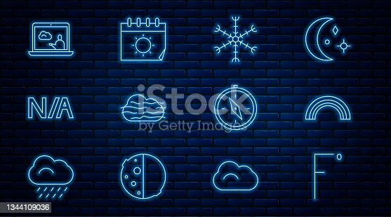 istock Set line Fahrenheit, Rainbow, Snowflake, Fog and cloud, Not applicable, Weather forecast, Compass and Calendar sun icon. Vector 1344109036