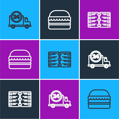Set line Fast delivery by car, Restaurant cafe menu and Burger icon. Vector