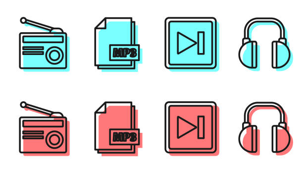 Set line Fast forward, Radio with antenna, MP3 file document and Headphones icon. Vector Set line Fast forward, Radio with antenna, MP3 file document and Headphones icon. Vector switchboard operator vintage stock illustrations