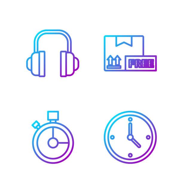 stockillustraties, clipart, cartoons en iconen met setline snelle tijdlevering, snelle tijdlevering, hoofdtelefoon en - call center