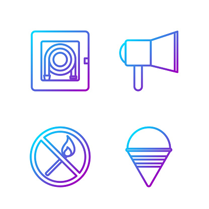 Set line Fire cone bucket, No fire match, Fire hose cabinet and Megaphone. Gradient color icons. Vector