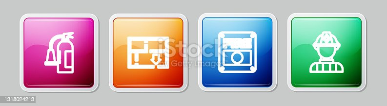 istock Set line Fire extinguisher, Evacuation plan, alarm system and Firefighter. Colorful square button. Vector 1318024213