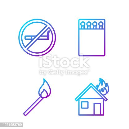 istock Set line Fire in burning house, Burning match with fire, No Smoking and Open matchbox and matches. Gradient color icons. Vector 1271583789