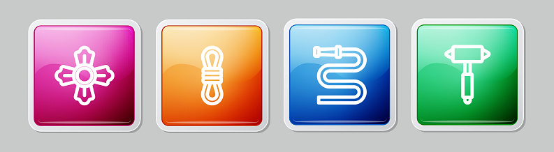 Set line Firefighter, Climber rope, hose reel and axe. Colorful square button. Vector