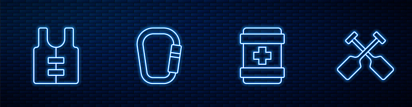 Set line First aid kit, Life jacket, Carabiner and Paddle. Glowing neon icon on brick wall. Vector