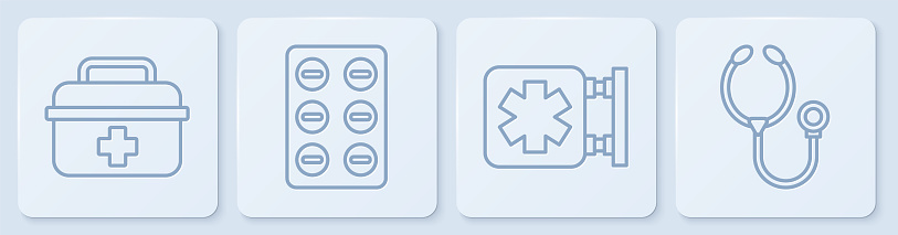 Set line First aid kit, Medical symbol of the Emergency, Pills in blister pack and Stethoscope. White square button. Vector