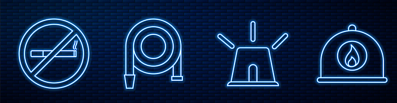 Set line Flasher siren, No Smoking, Fire hose reel and Firefighter helmet. Glowing neon icon on brick wall. Vector