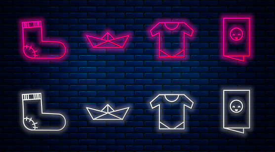 Set line Folded paper boat, Baby onesie, Baby socks clothes and Baby shower invitations card, poster. Glowing neon icon on brick wall. Vector
